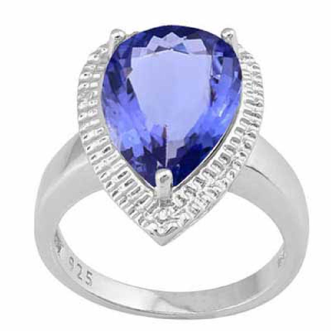 9.794 CARAT TW (3 PCS) LAB TANZANITE & GENUINE DIAMOND