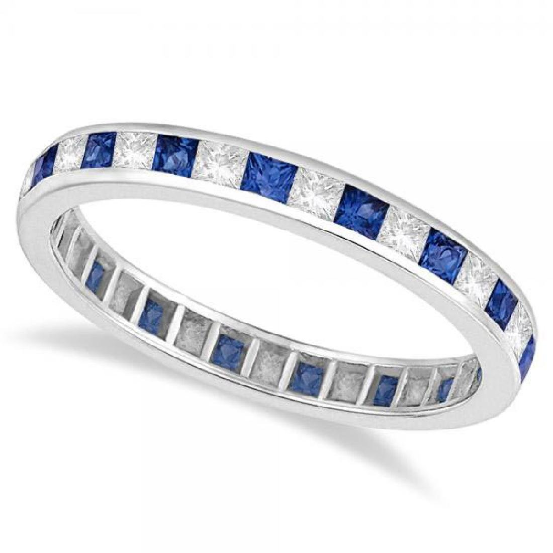 Princess-Cut Sapphire and Diamond Eternity Ring 14k Whi