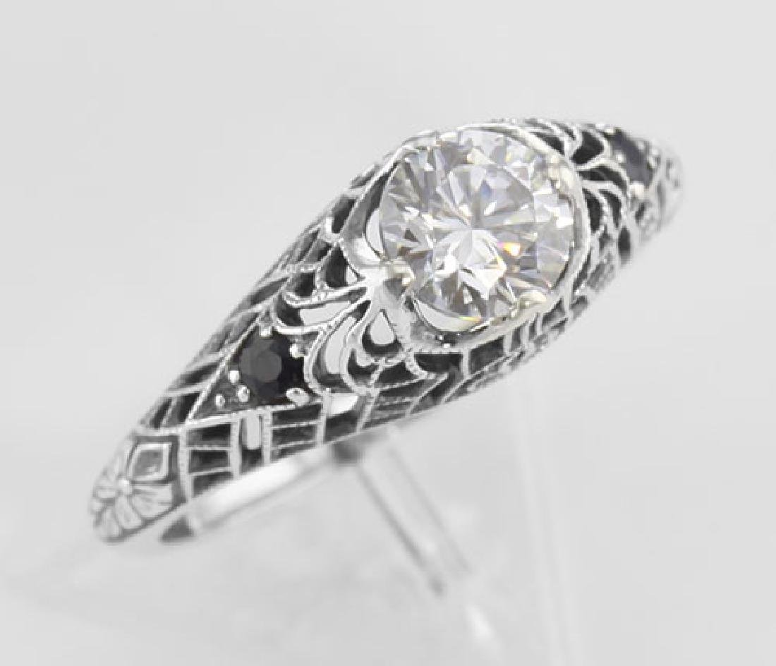 Cubic Zirconia Filigree Ring with Genuine Sapphire Acce