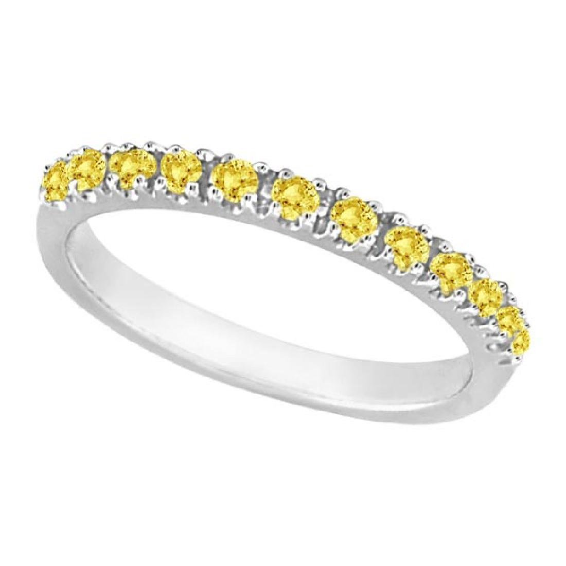 Yellow Canary Diamond Stackable Ring Band 14k White Gol