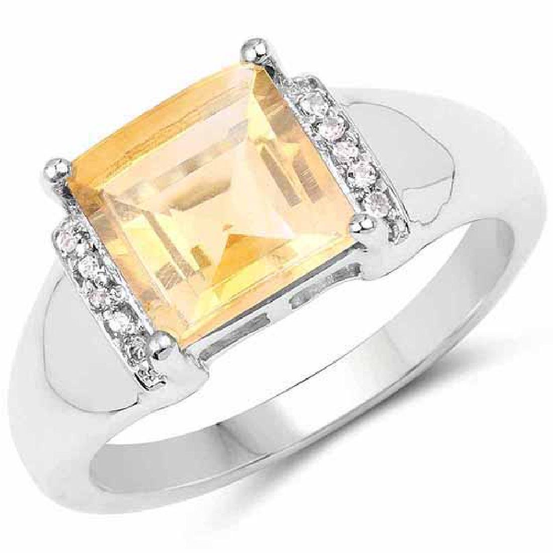 2.40 Carat Genuine Citrine & White Topaz .925 Sterling