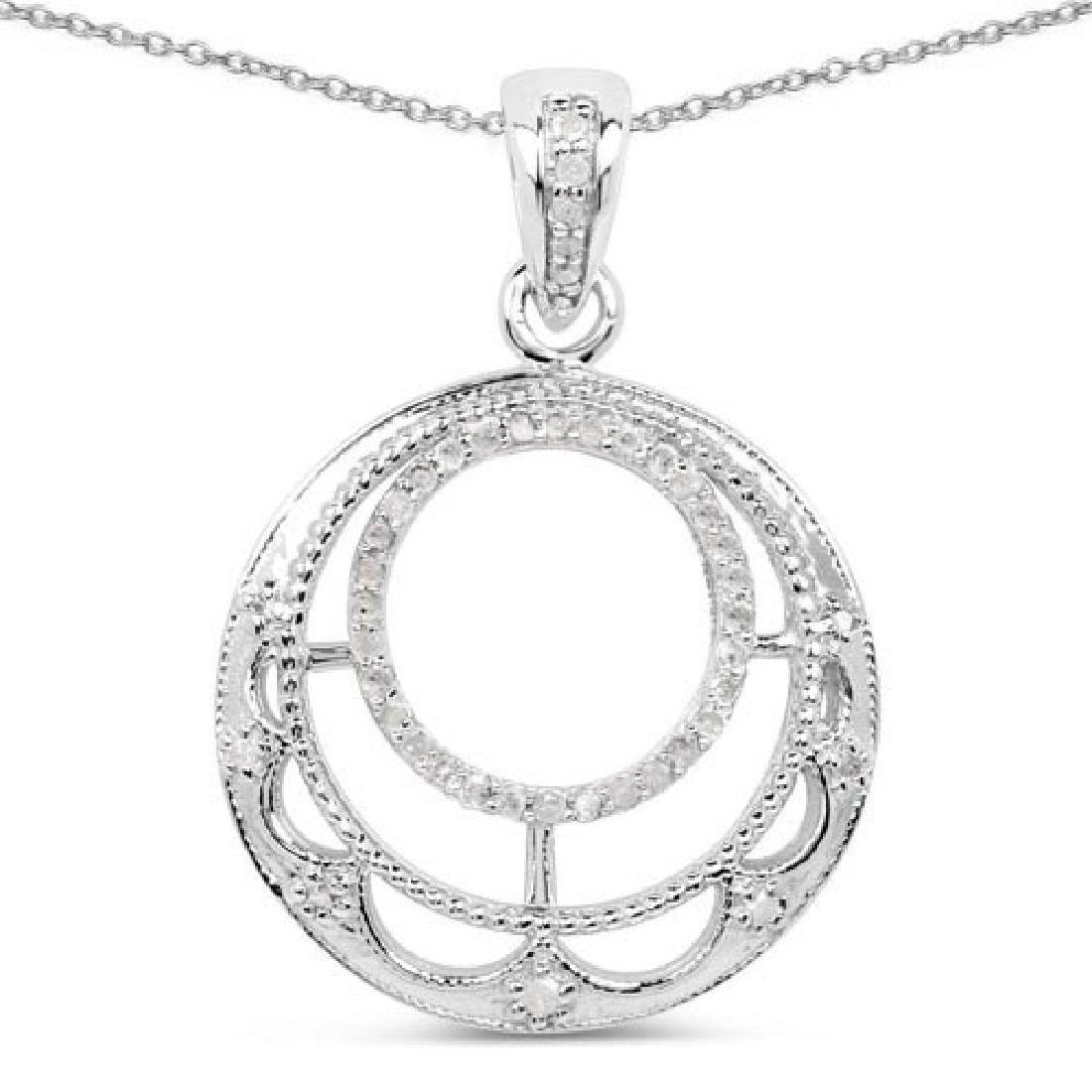 0.28 Carat Genuine White Diamond .925 Sterling Silver P