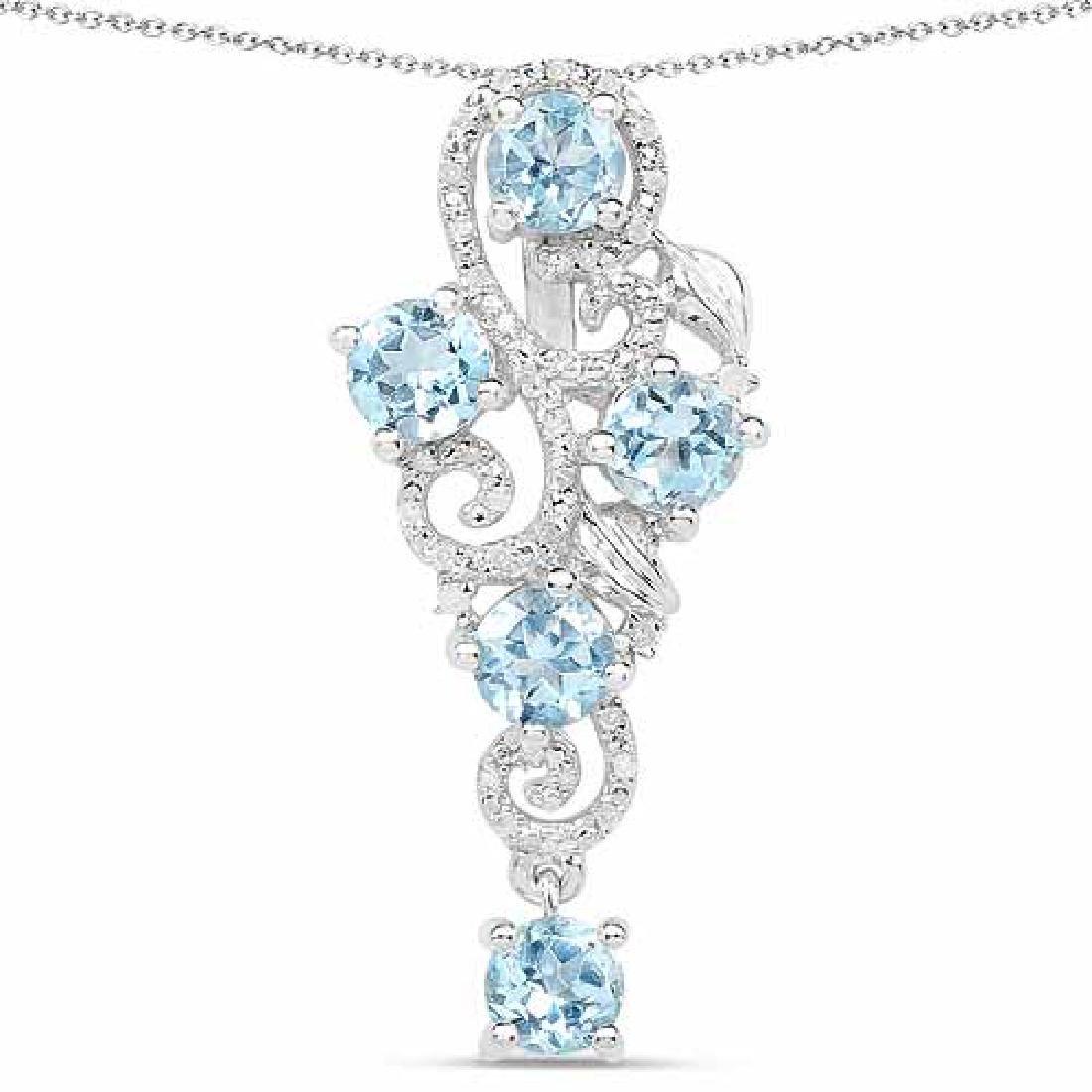 3.11 Carat Genuine Blue Topaz and White Diamond .925 St