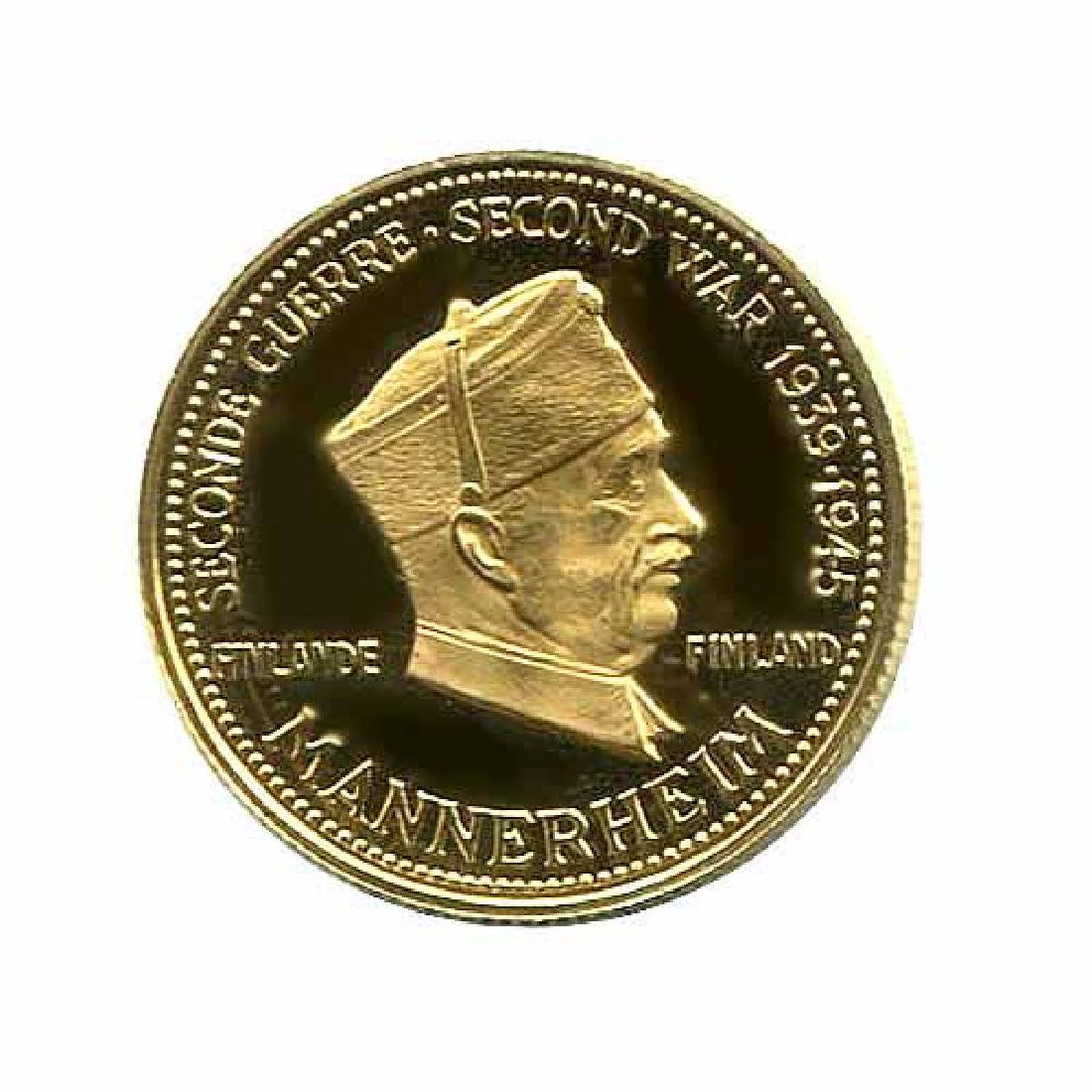 WWII Commemorative Proof Gold Medal 7g. 1958 Mannerheim
