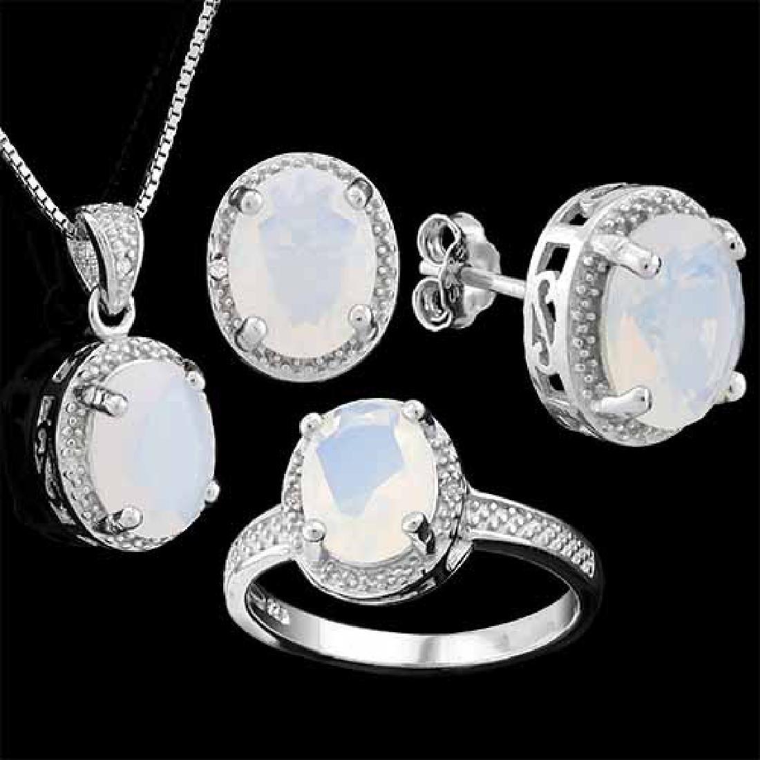 6 CARAT CREATED FIRE OPAL & DIAMOND 925 STERLING SILVER
