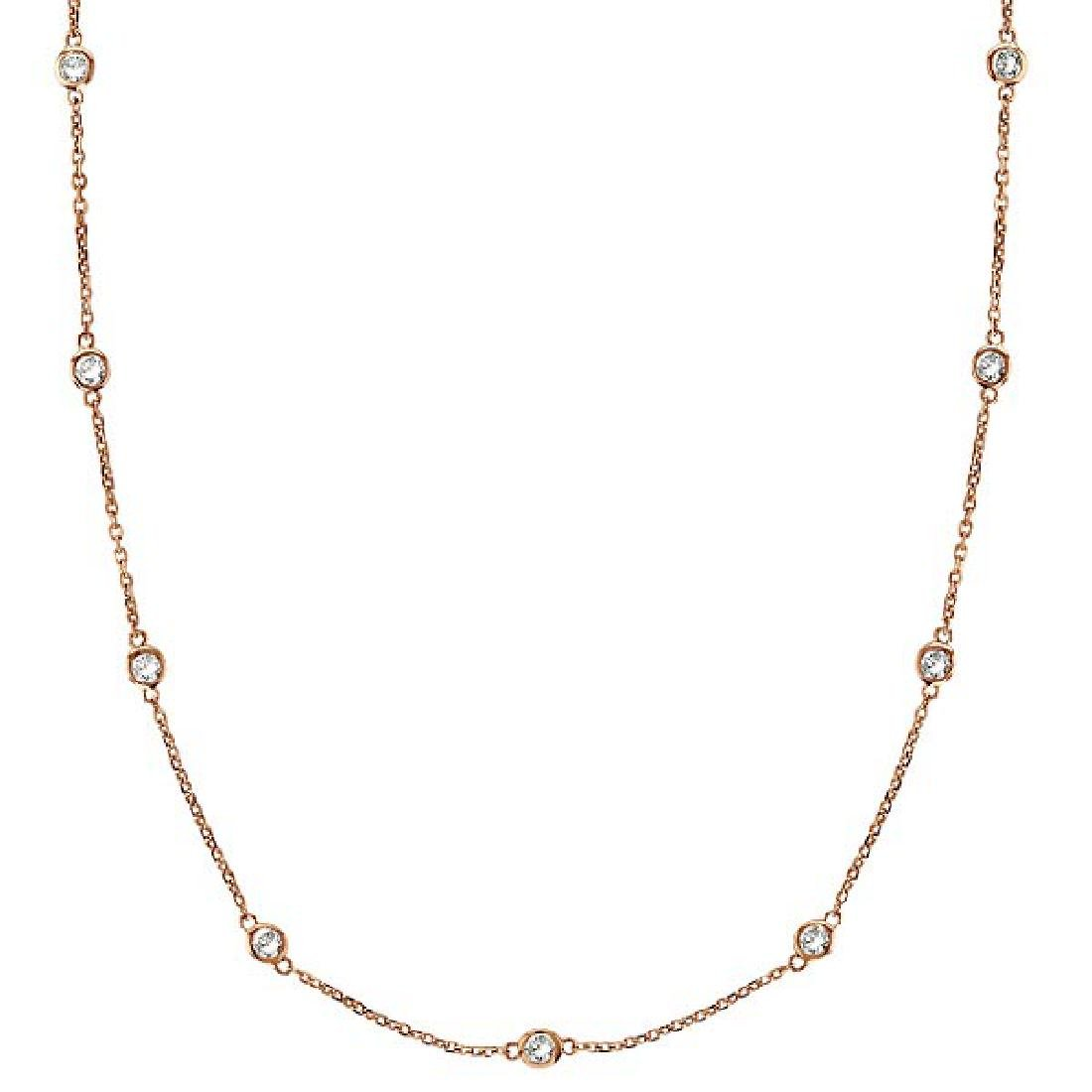 Diamonds by The Yard Bezel-Set Necklace in 14k Rose Gol