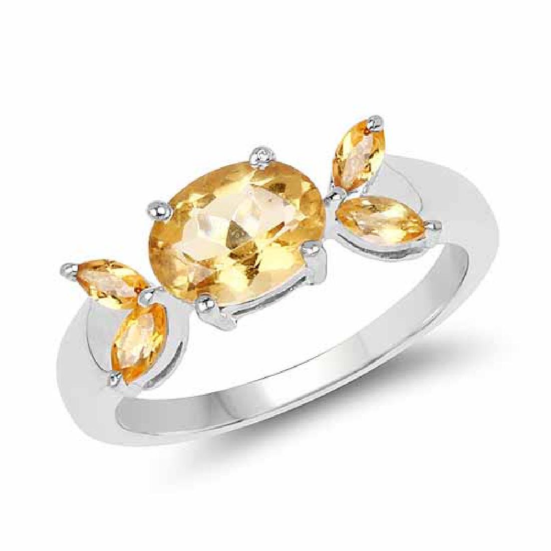 1.60 Carat Genuine Citrine .925 Sterling Silver Ring
