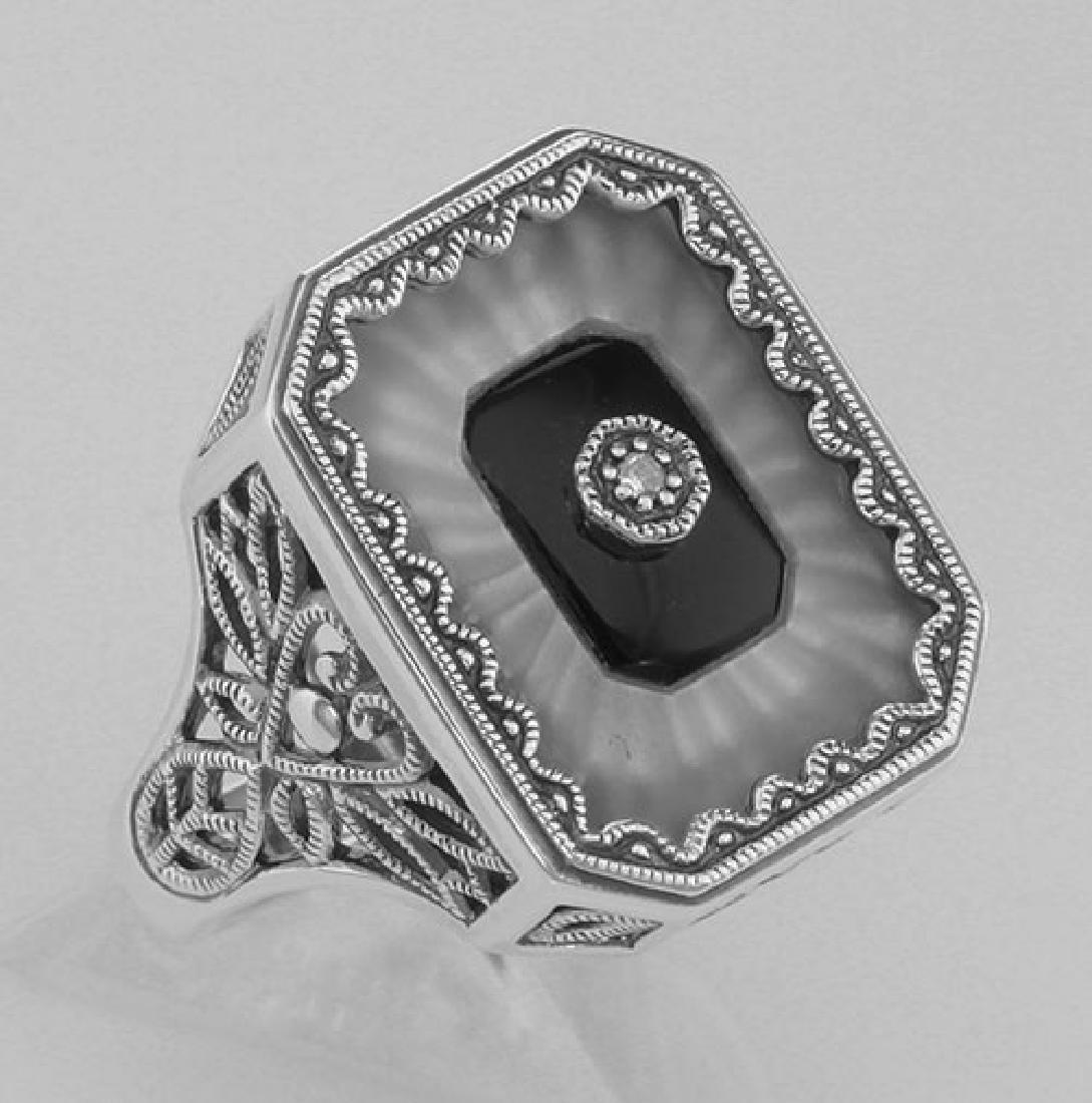 Victorian Style Camphor Glass / Black Onyx / Diamond Ri