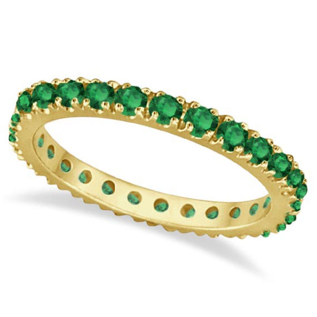 Emerald Eternity Stackable Ring Band 14K Yellow Gold (0