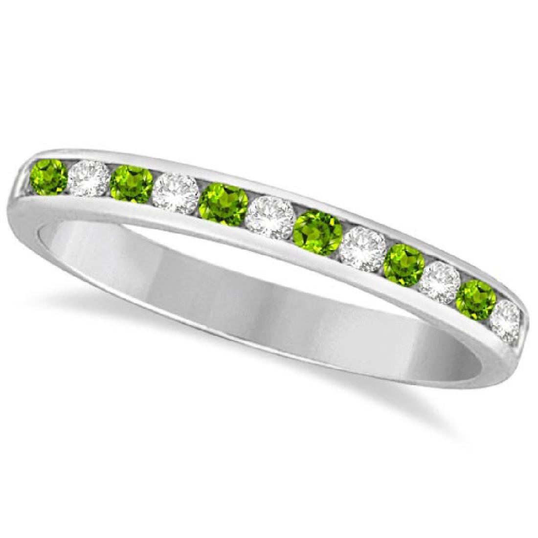 Peridot and Diamond Semi-Eternity Channel Ring 14k Whit