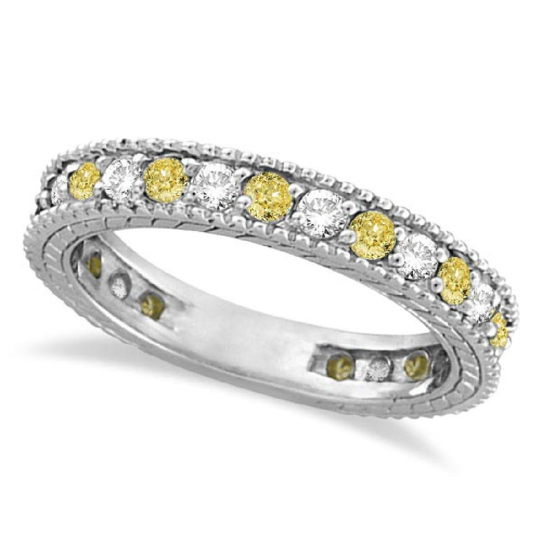 Fancy Yellow Canary and White Diamond Eternity Ring 14k