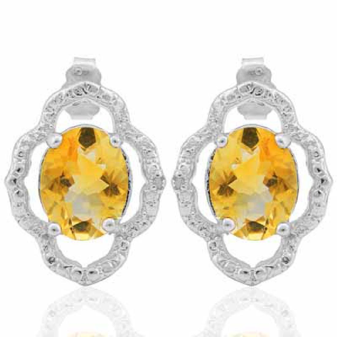 3.142 CARAT TW CITRINE & GENUINE DIAMOND PLATINUM OVER