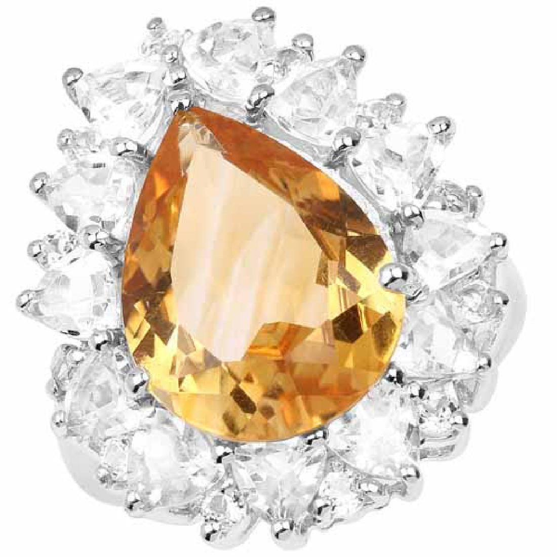 12.01 Carat Genuine Citrine and White Topaz .925 Sterli