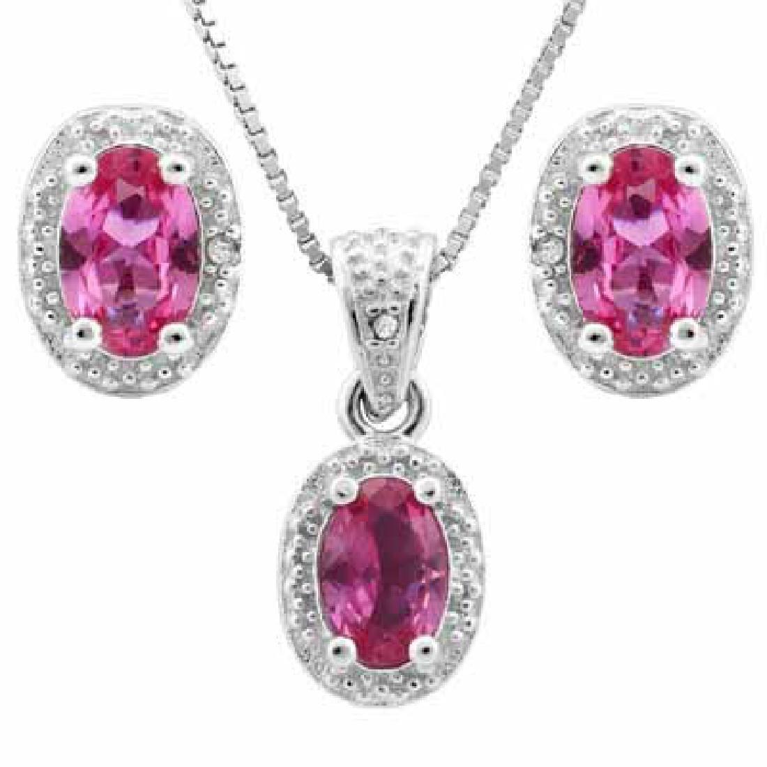 2.00 CT CREATED PINK SAPPHIRE & 5PCS GENUINE DIAMOND PL
