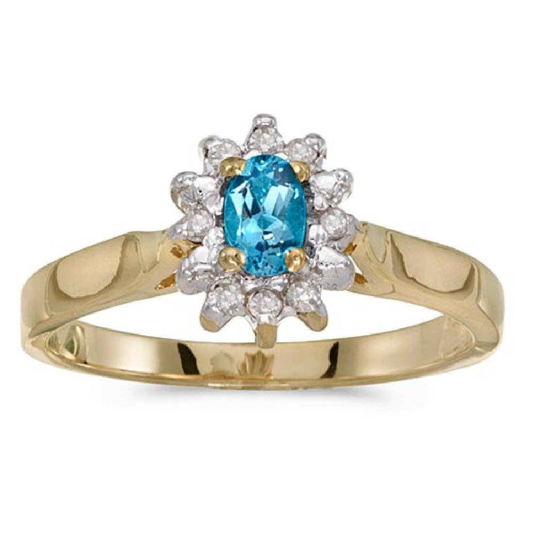 Certified 10k Yellow Gold Oval Blue Topaz And Diamond R