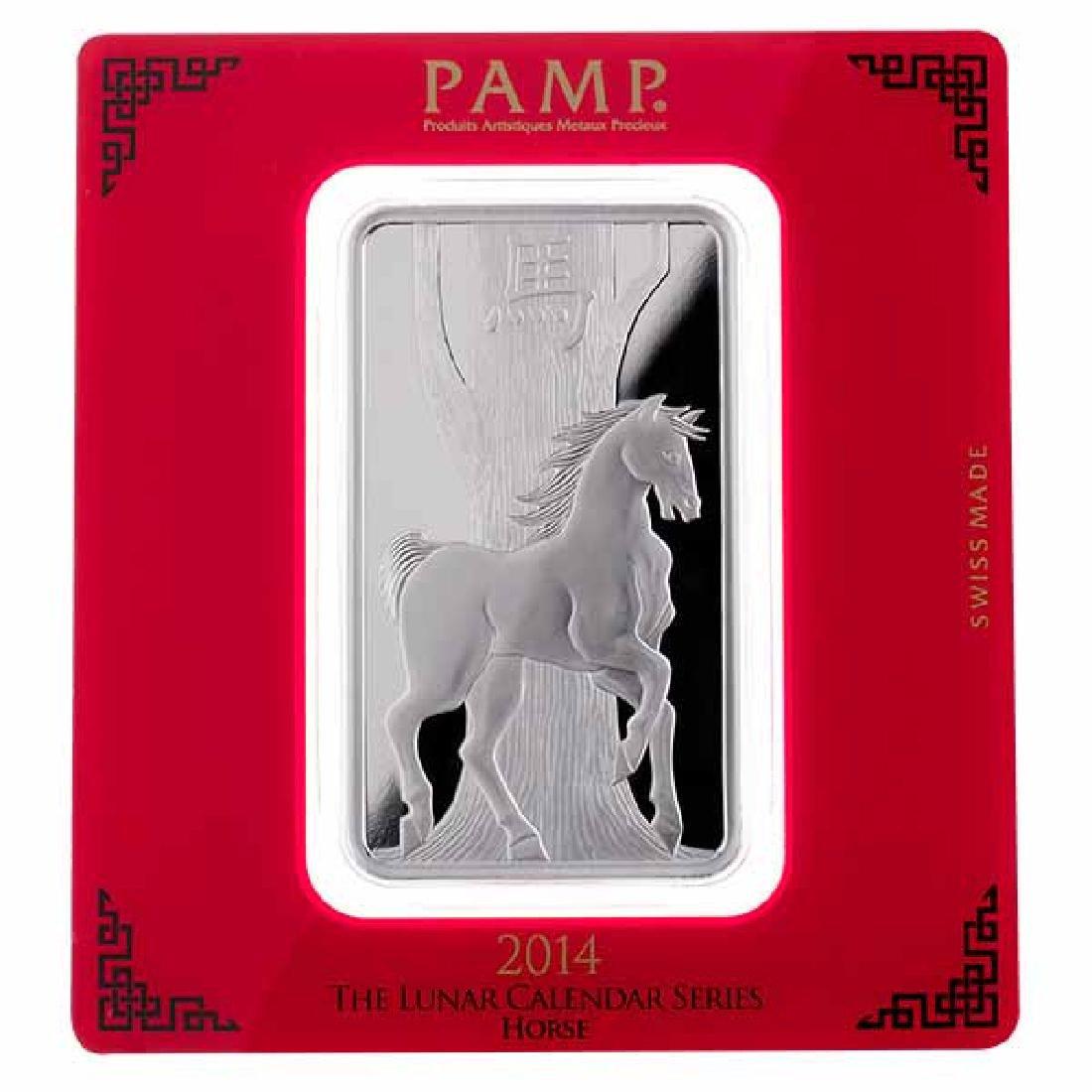 PAMP Suisse Silver Bar 100 Gram - 2014 Horse Design