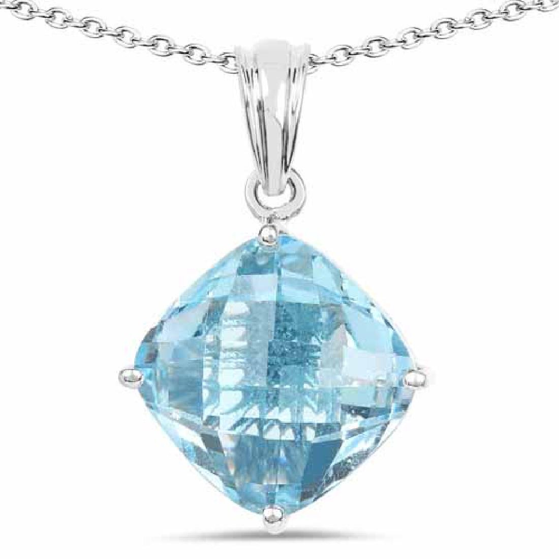11.10 Carat Genuine Blue Topaz .925 Sterling Silver Pen