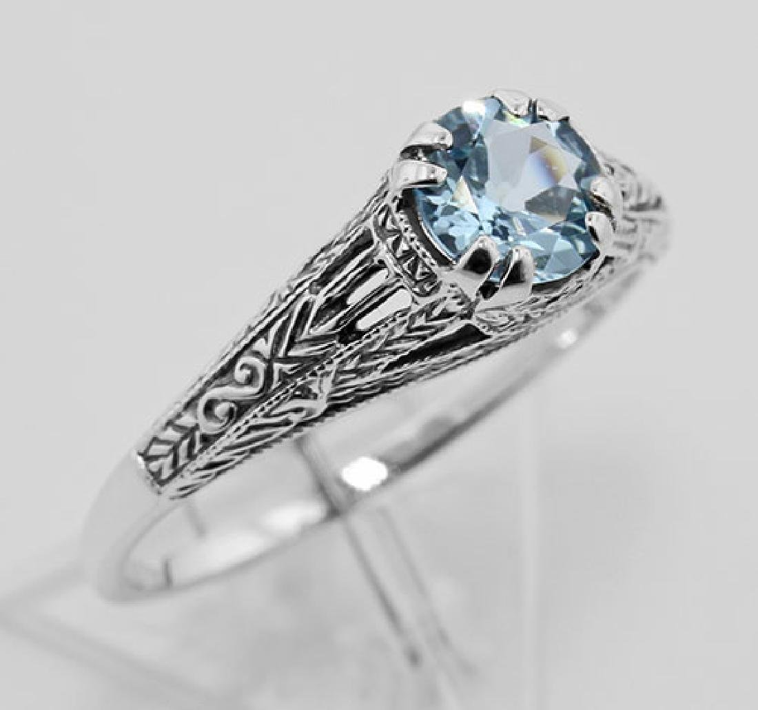Antique Style Genuine Blue Topaz Filigree Ring Sterling