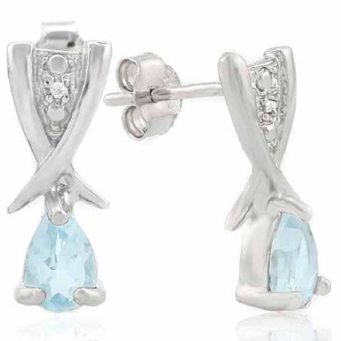4/5 CARAT BABY SWISS BLUE TOPAZ & DIAMOND 925 STERLING