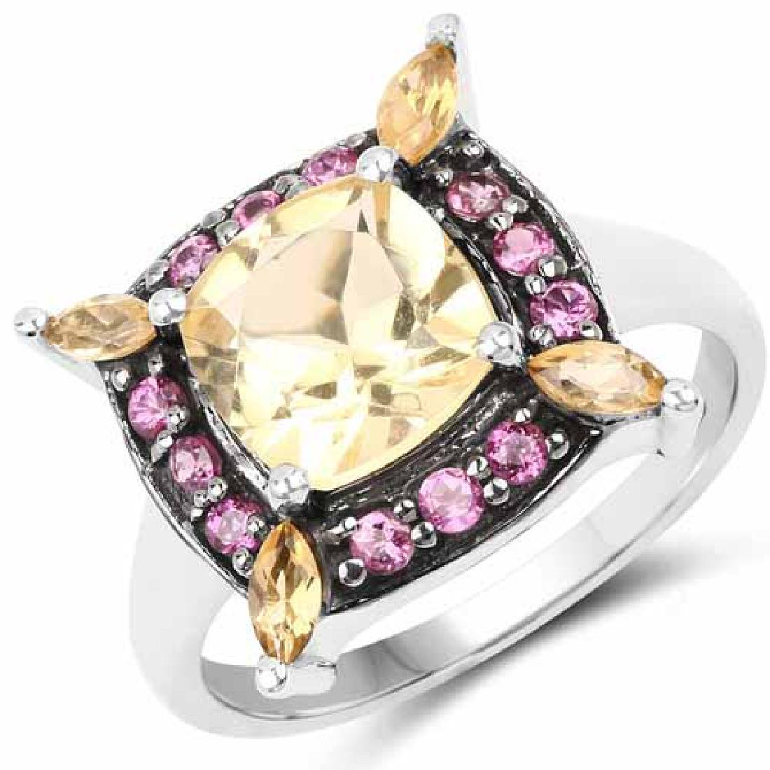 2.76 Carat Genuine Citrine and Rhodolite .925 Sterling