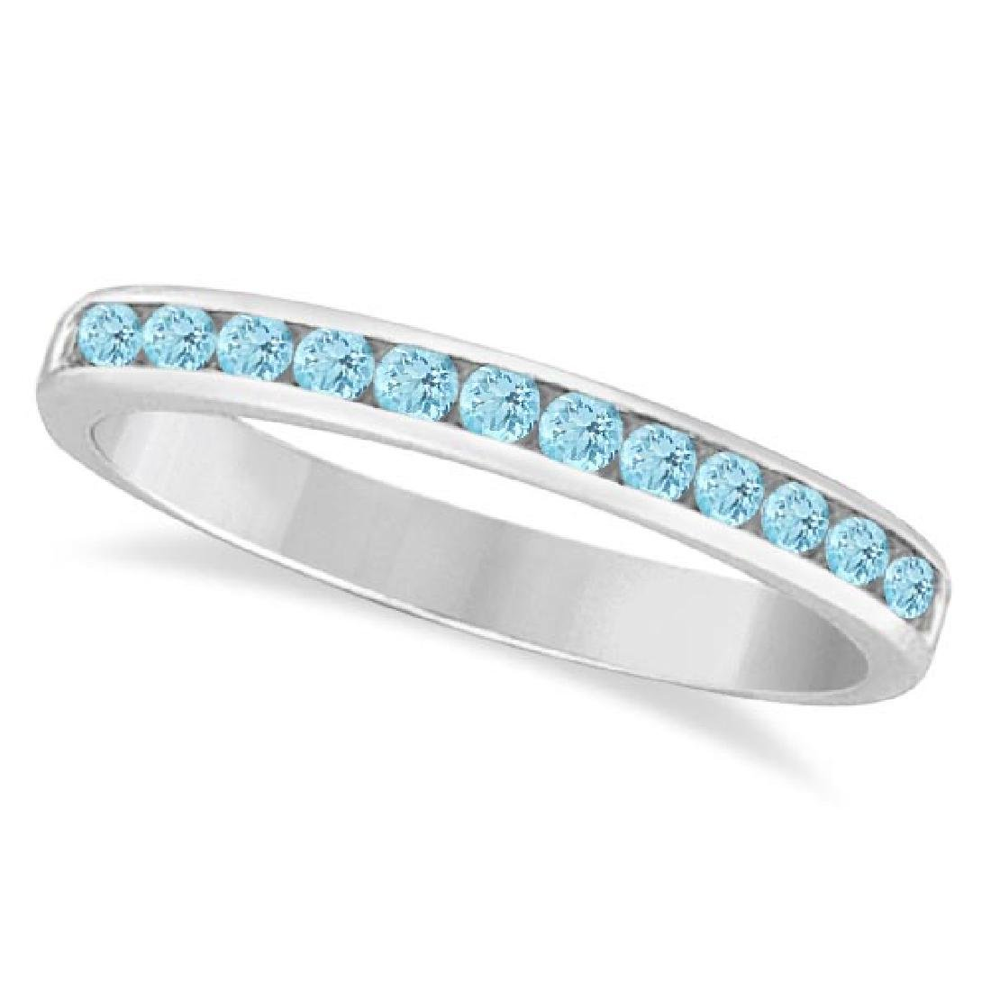 Aquamarine Channel-Set Semi-Eternity Ring Band 14k Whit