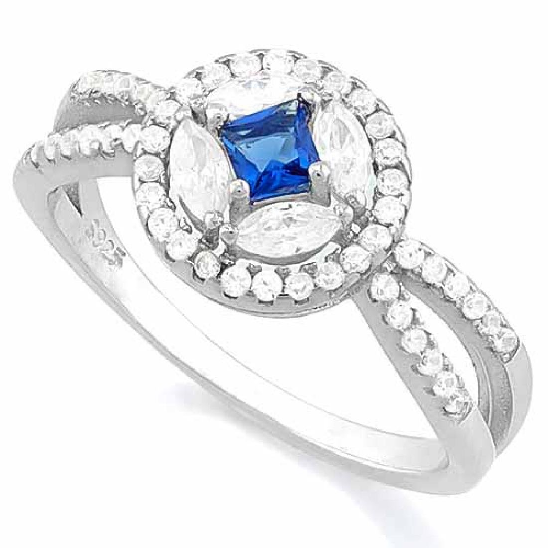 CREATED BLUE SAPPHIRE 925 STERLING SILVER HALO RING