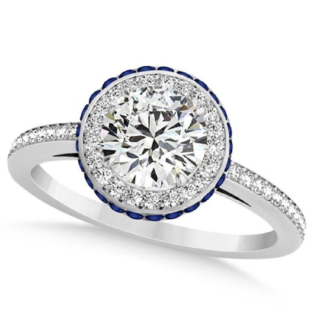 Diamond Halo and Sapphire Gemstone Engagement Ring 14k