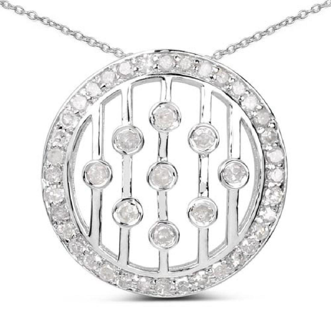 0.53 Carat Genuine White Diamond .925 Sterling Silver P