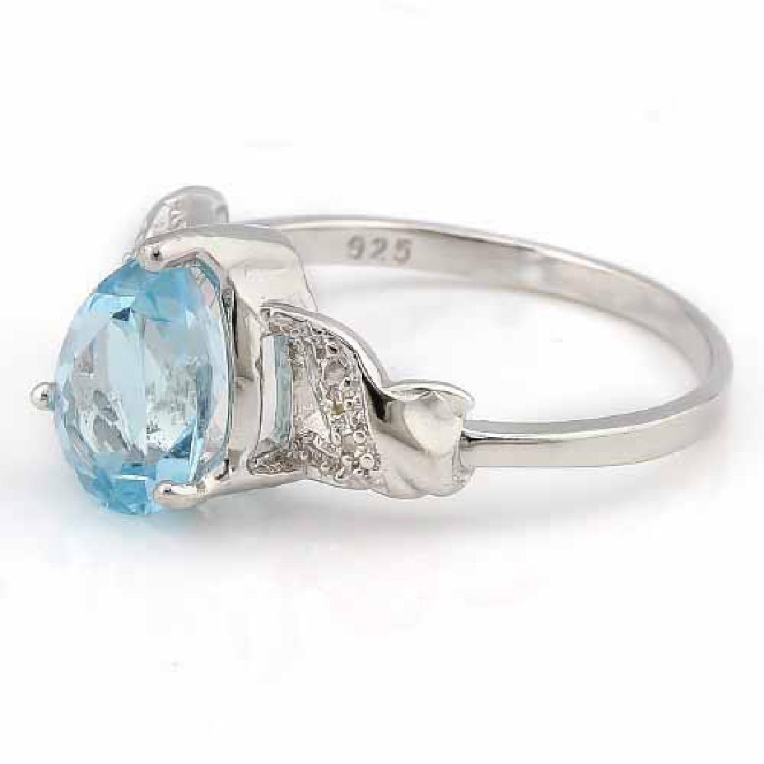 3 1/2 CARAT BABY SWISS BLUE TOPAZ & DIAMOND 925 STERLIN