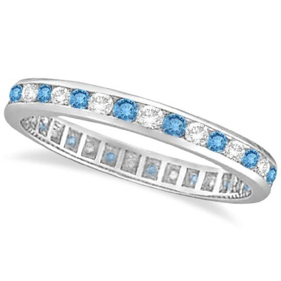 Blue Topaz and Diamond Channel-Set Eternity Ring 14k Wh