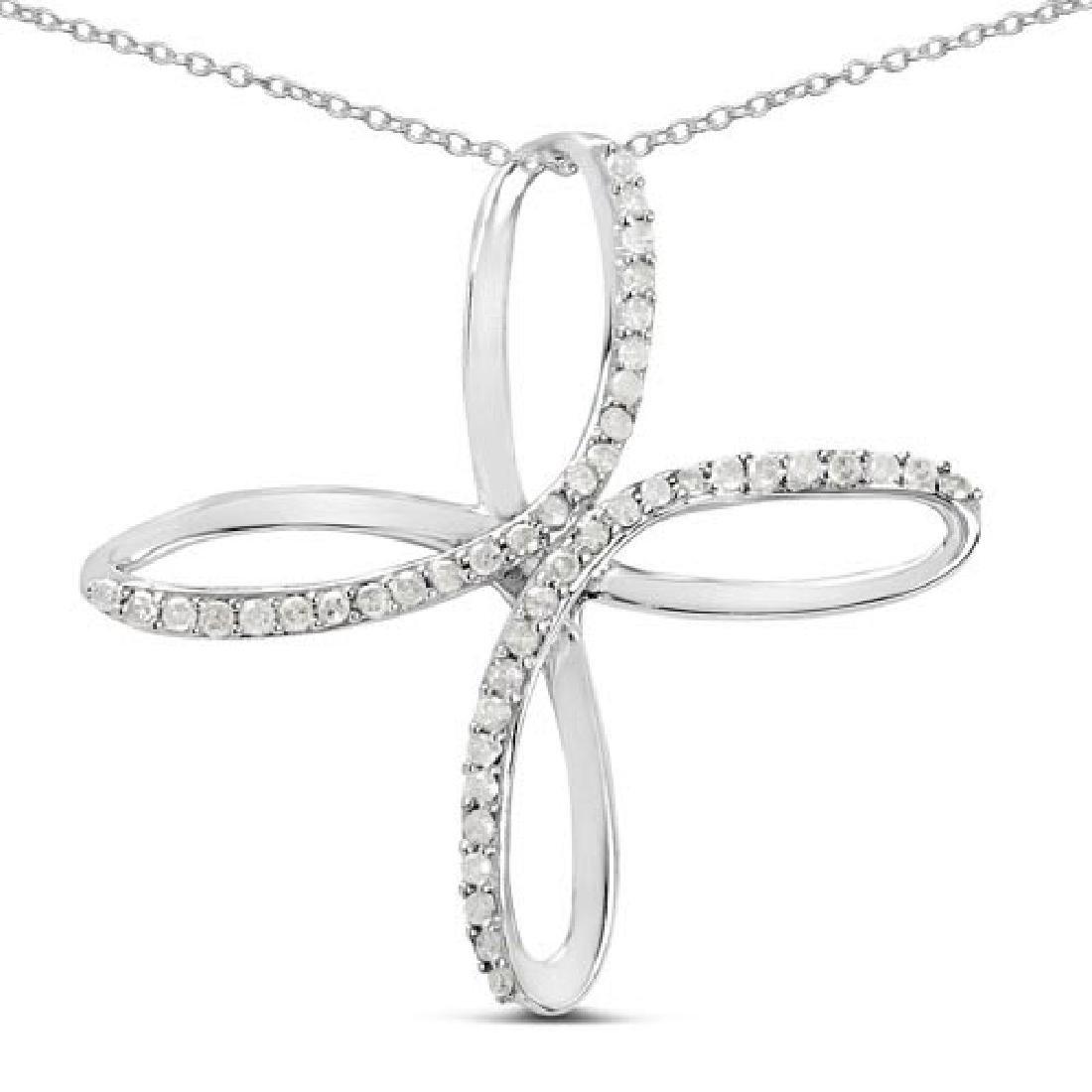 0.41 Carat Genuine White Diamond .925 Sterling Silver P