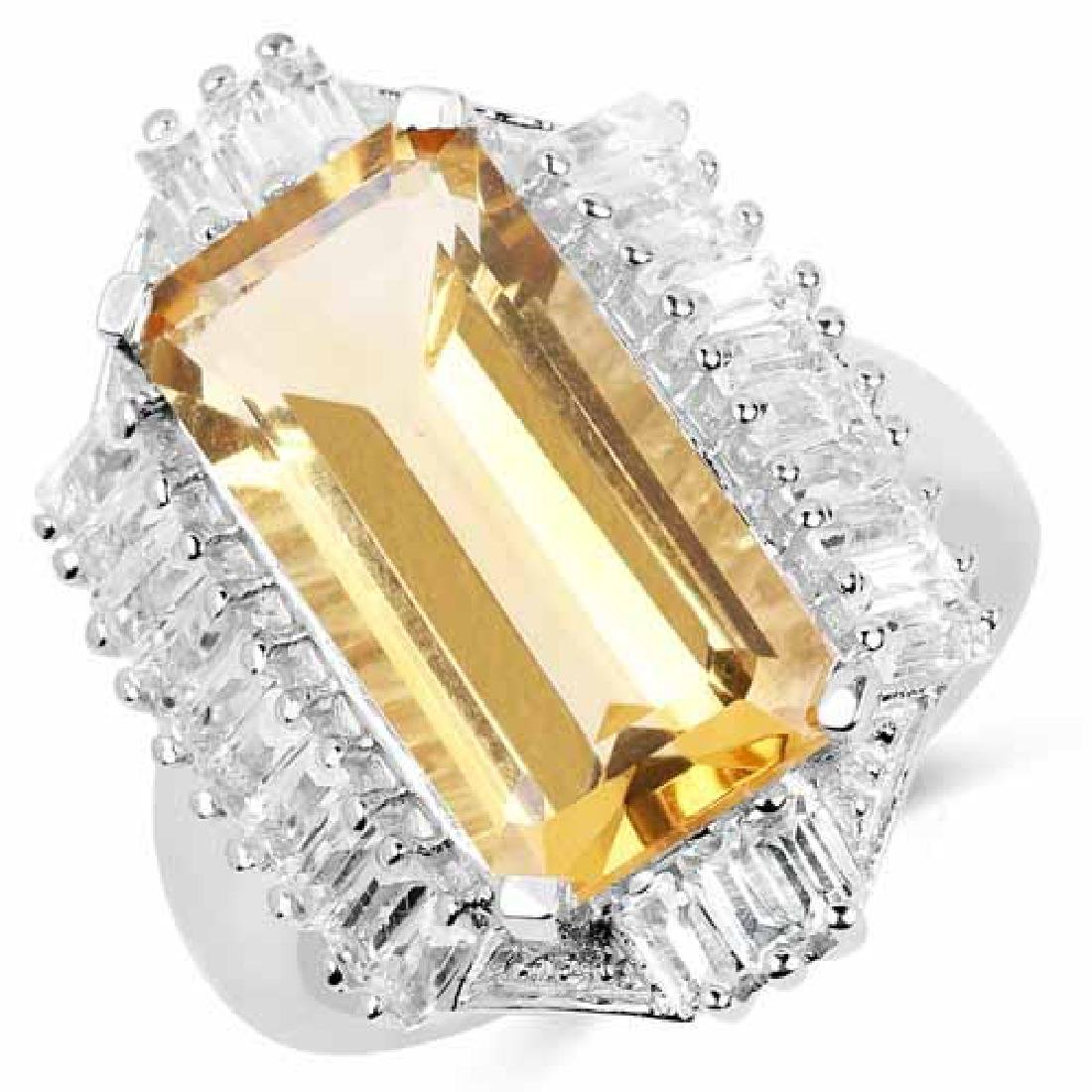 9.13 Carat Genuine Citrine and White Topaz .925 Sterlin