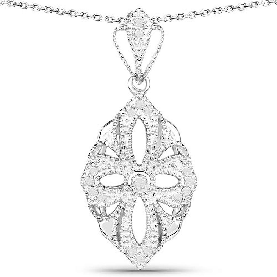 0.23 Carat Genuine White Diamond .925 Sterling Silver P