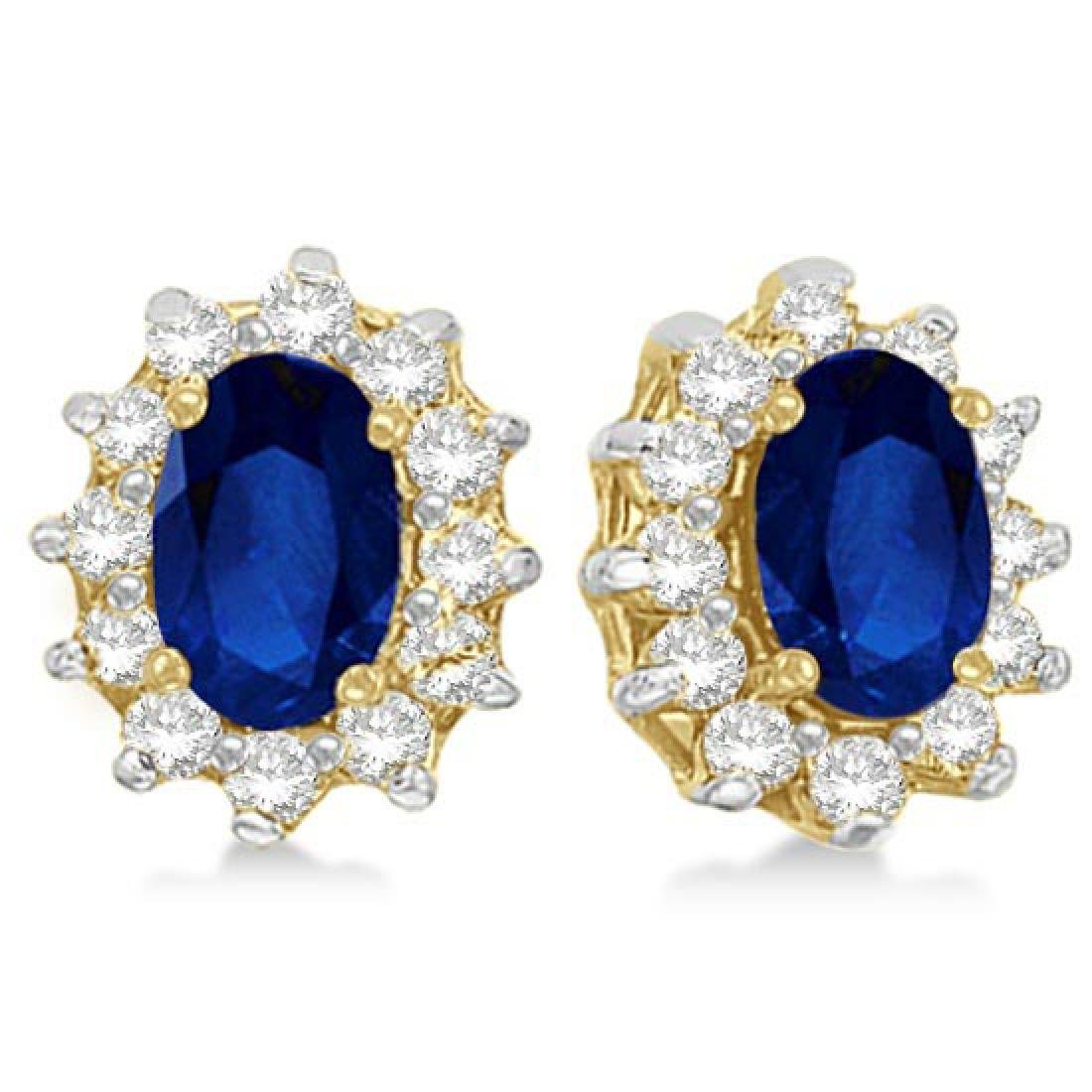 Oval Blue Sapphire and Diamond Accents Earrings 14k Yel