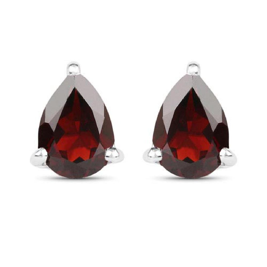 1.63 Carat Genuine Garnet .925 Sterling Silver Earrings