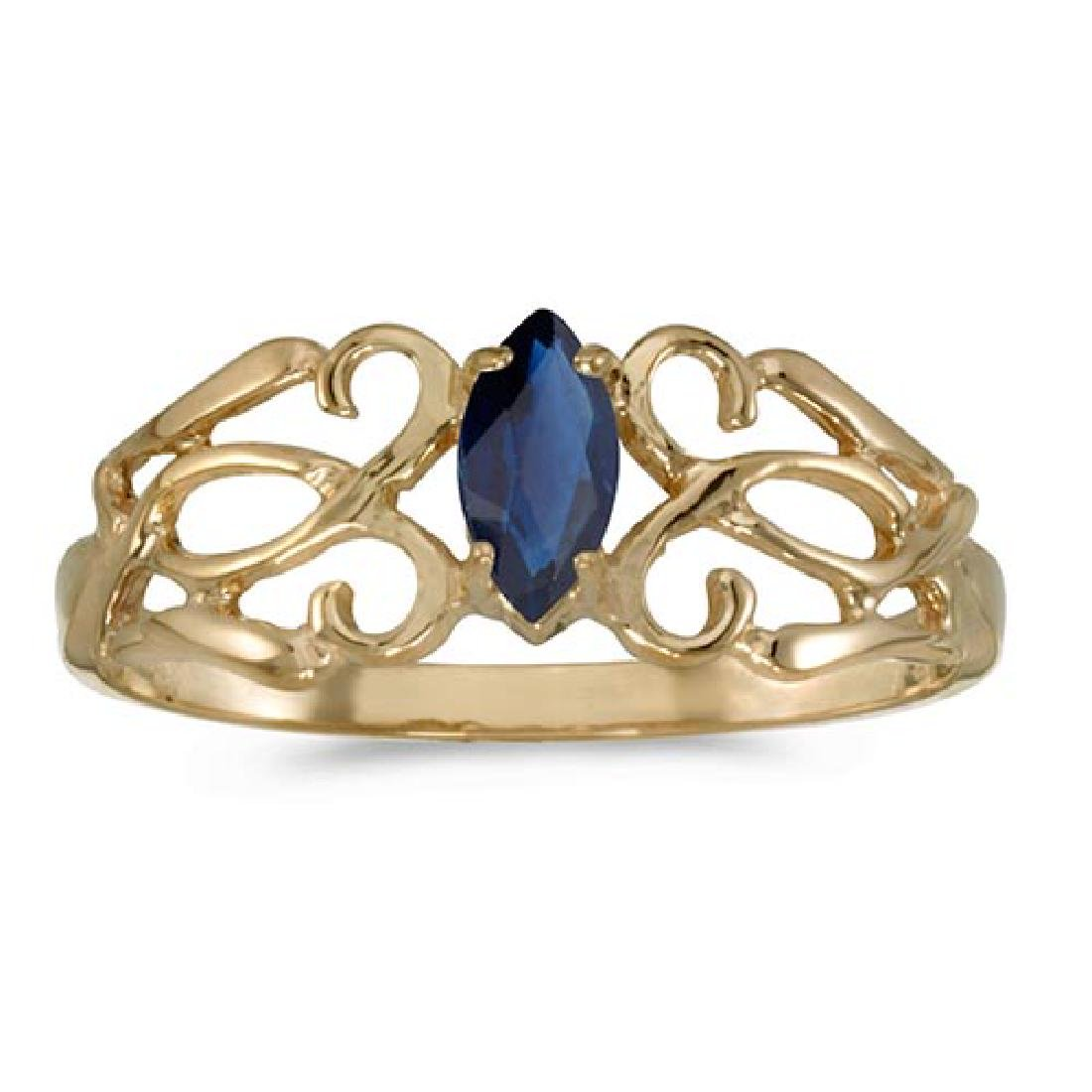 Certified 10k Yellow Gold Marquise Sapphire Filagree Ri