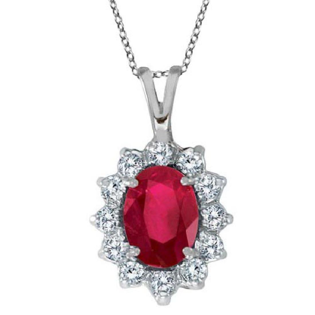 Ruby and Diamond Accented Pendant Necklace 14k White Go