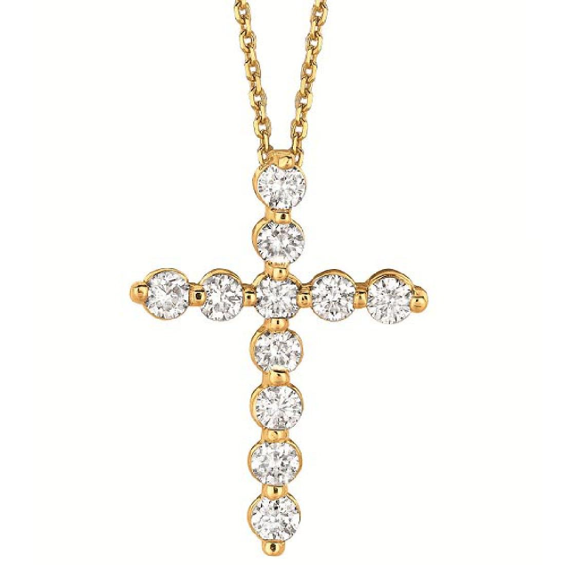 Diamond Cross Pendant Necklace in 14k Yellow Gold (1.01