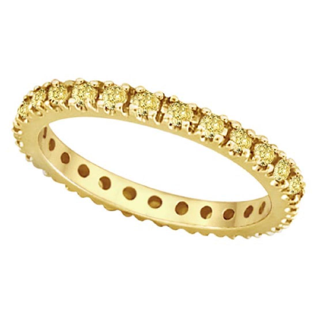 Fancy Yellow Canary Diamond Eternity Ring Band 14K Yell