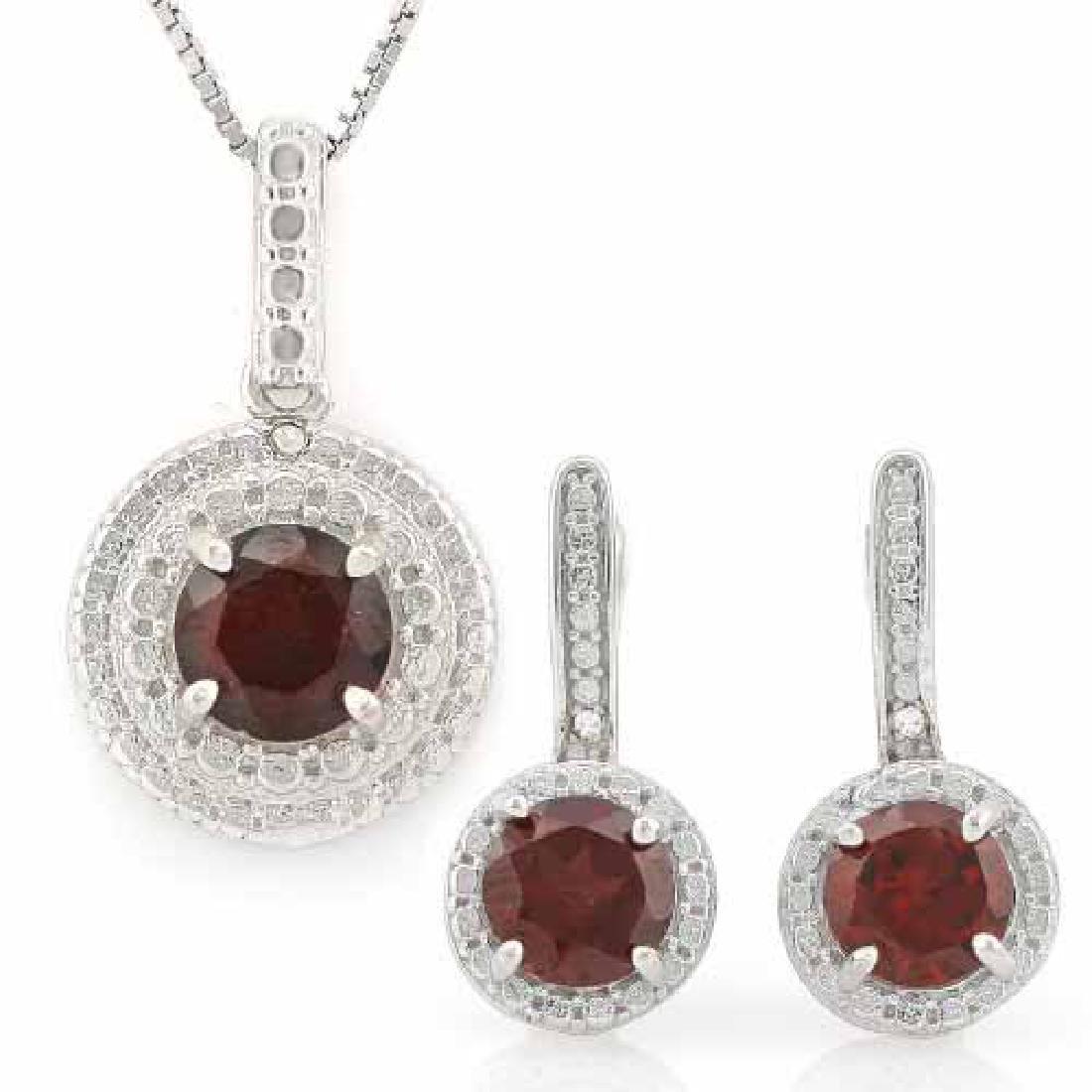 3 CARAT GARNETS & GENUINE DIAMONDS 925 STERLING SILVER