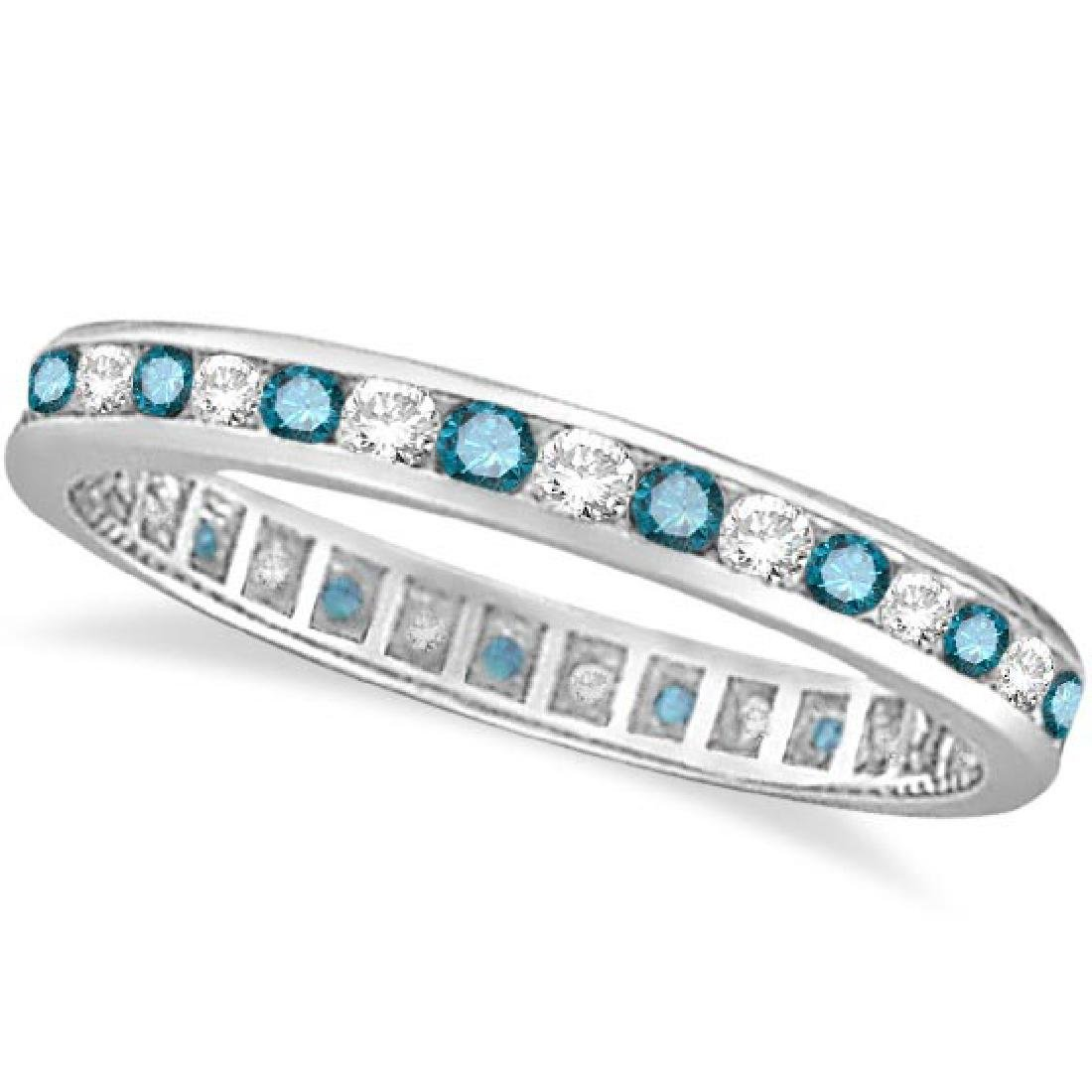 Blue and White Diamond Channel Set Eternity Ring Band 1