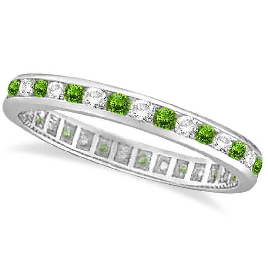 Peridot and Diamond Channel-Set Eternity Ring 14k White