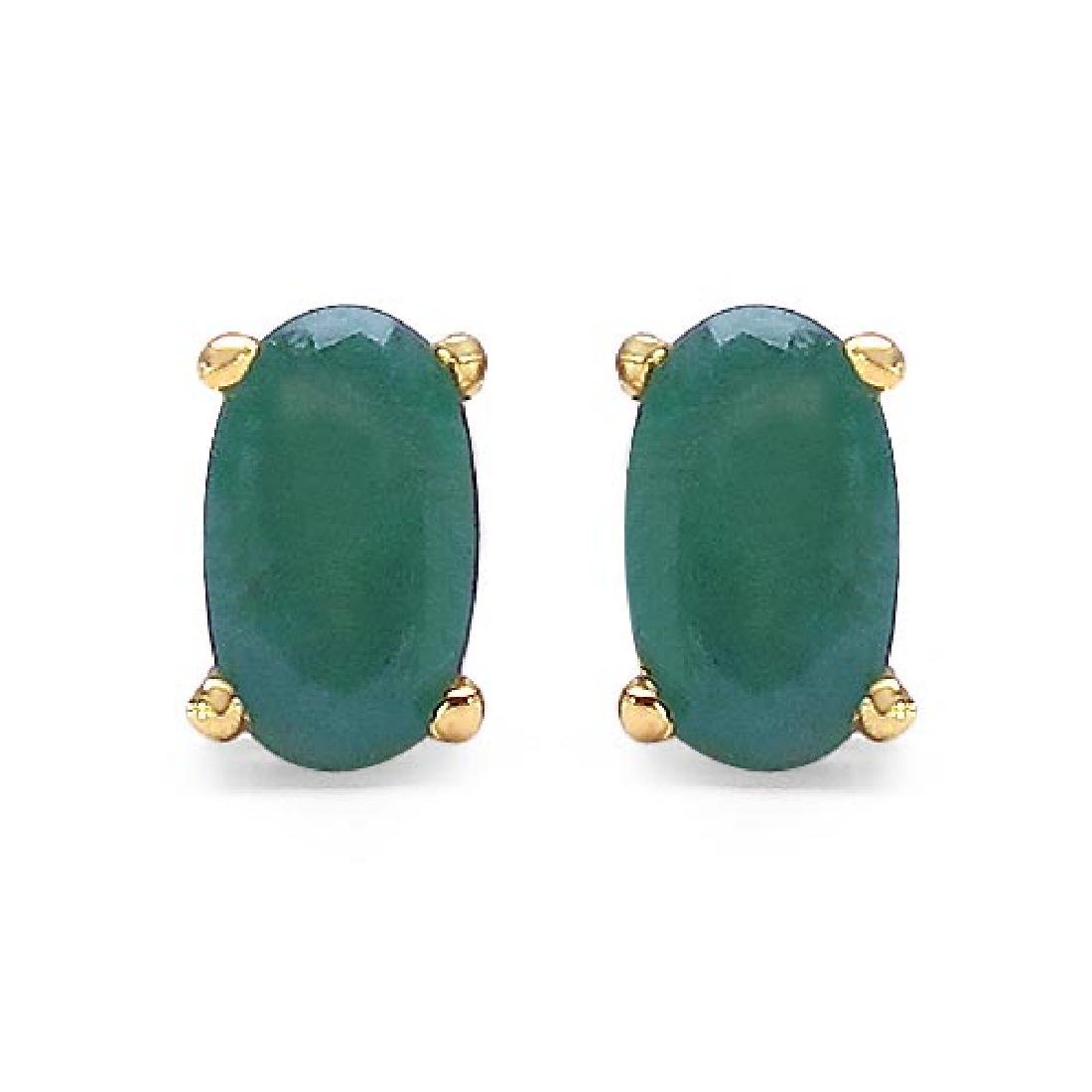 0.54 Carat Genuine Emerald 10K Yellow Gold Earrings