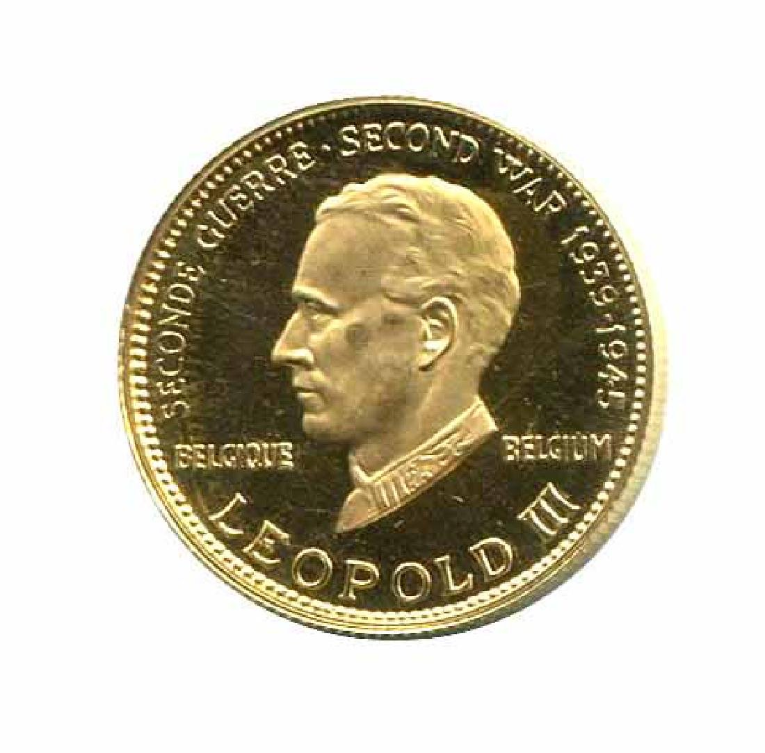 WWII Commemorative Proof Gold Medal 7g. 1958 Leopold II