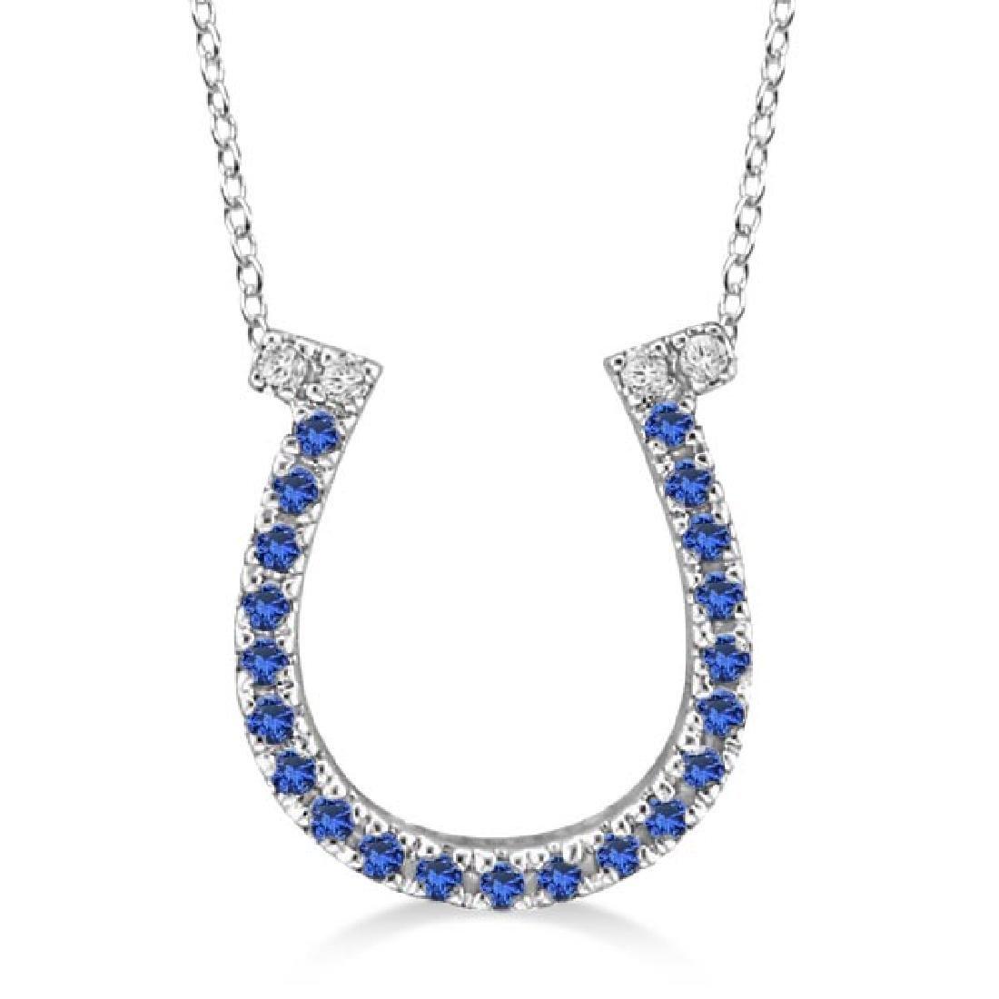 Sapphire and Diamond Horseshoe Pendant Necklace 14k Whi