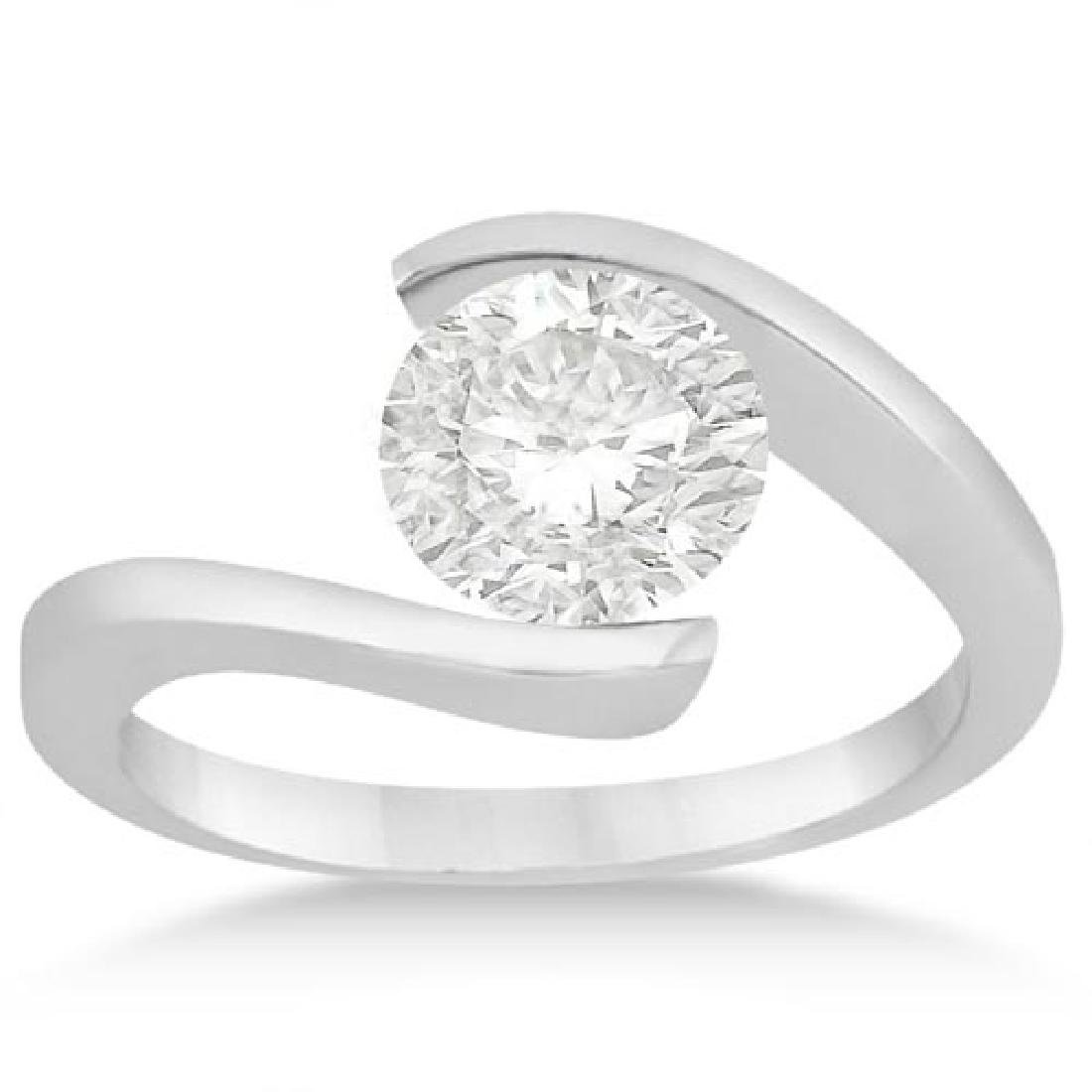 Tension Set Swirl Solitaire Diamond Engagement Ring
