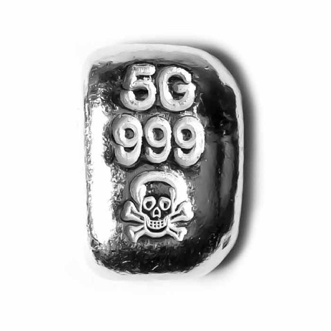 5 Gram Atlantis Skull and Crossbones Hand Poured Silver