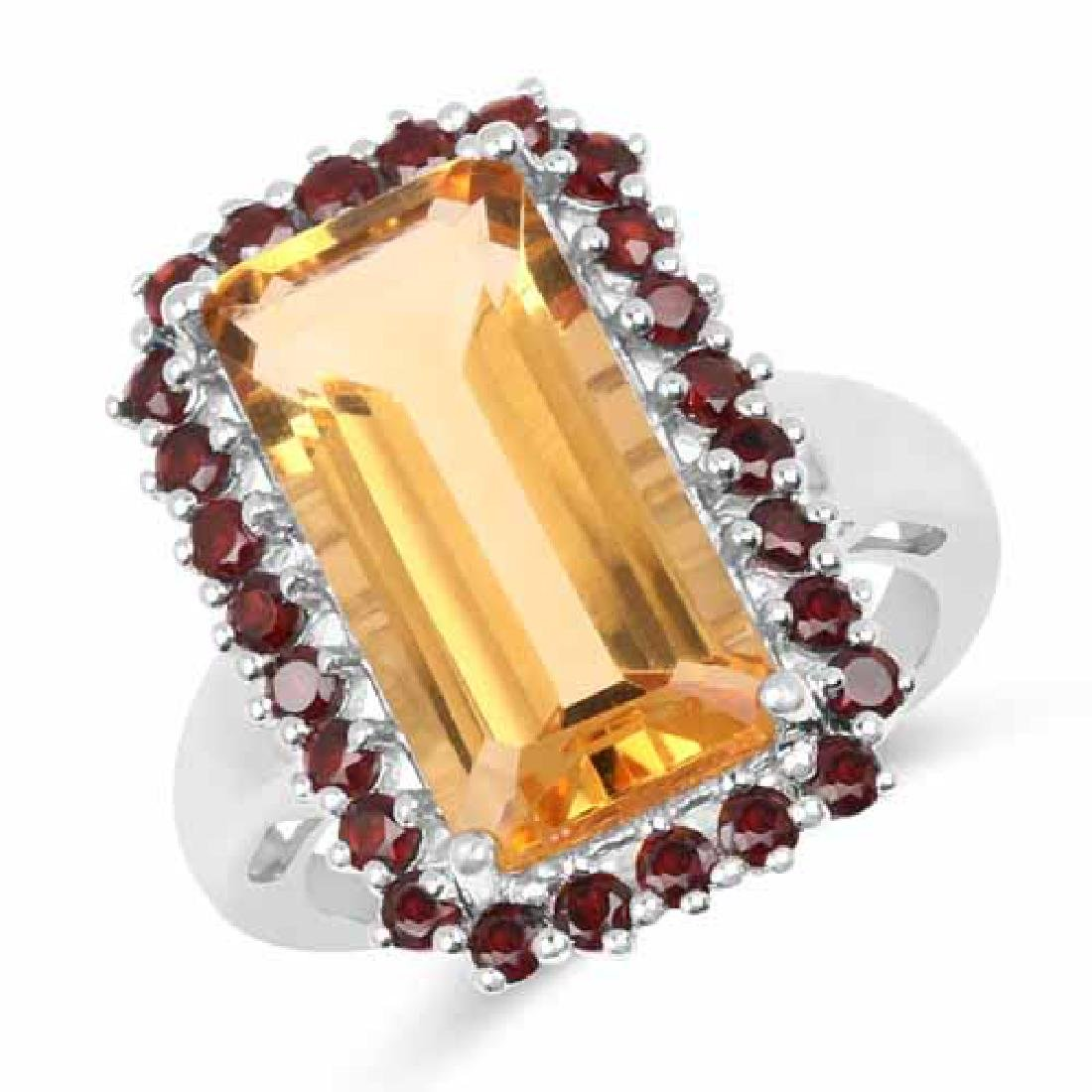 8.35 Carat Genuine Citrine and Garnet .925 Sterling Sil