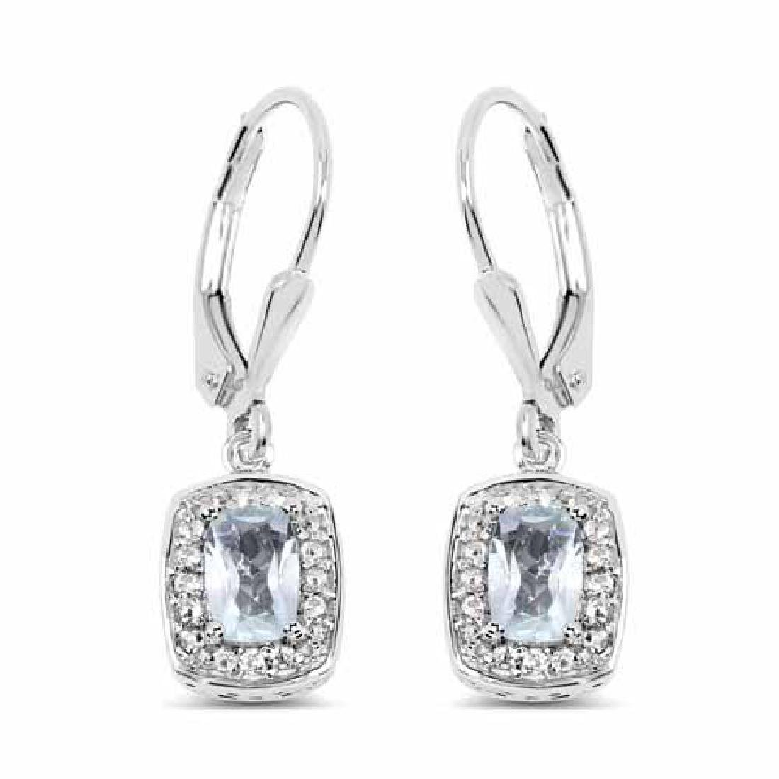 1.49 Carat Genuine Blue Topaz and White Topaz .925 Ster
