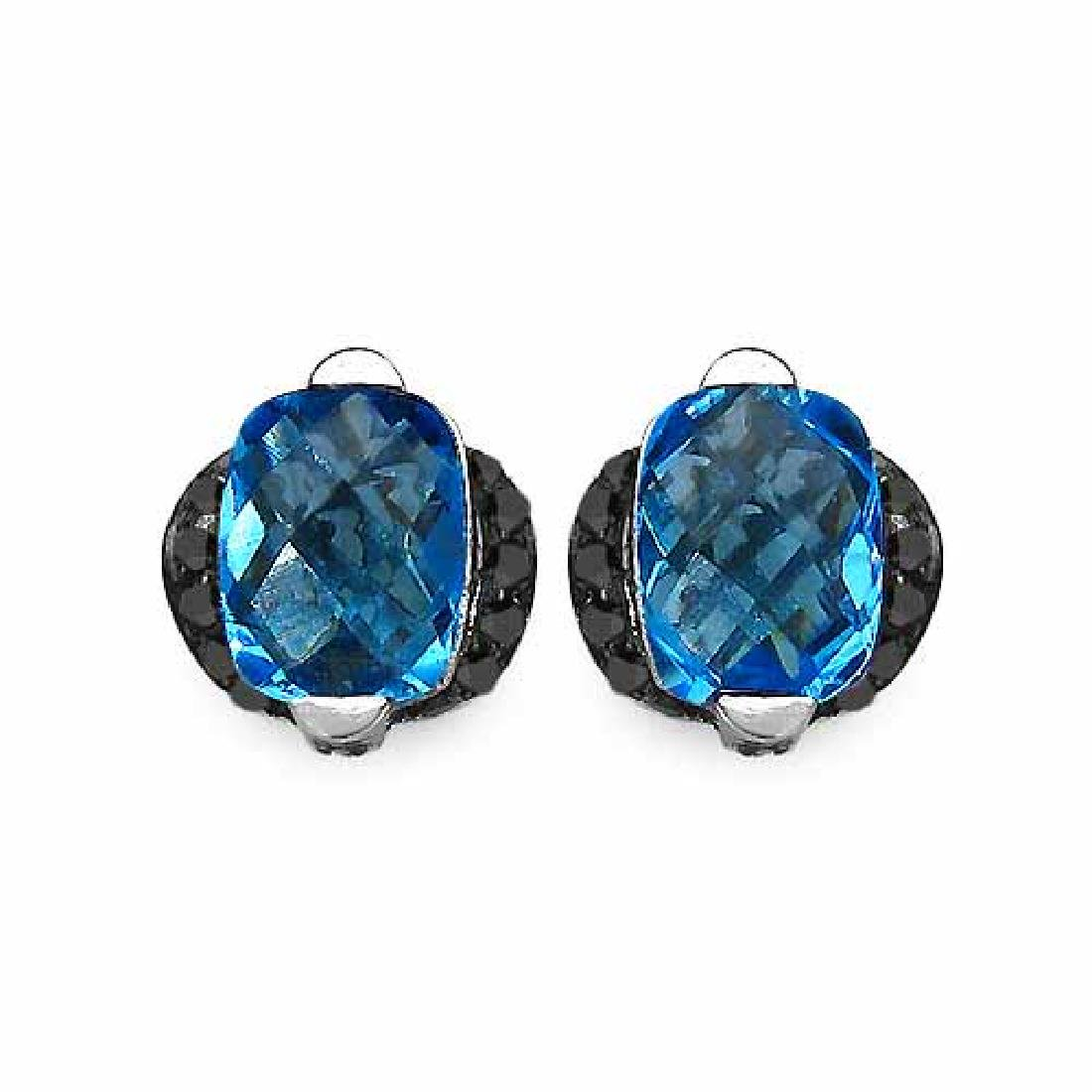 3.74 Carat Genuine Blue Topaz & Black Diamond .925 Stre